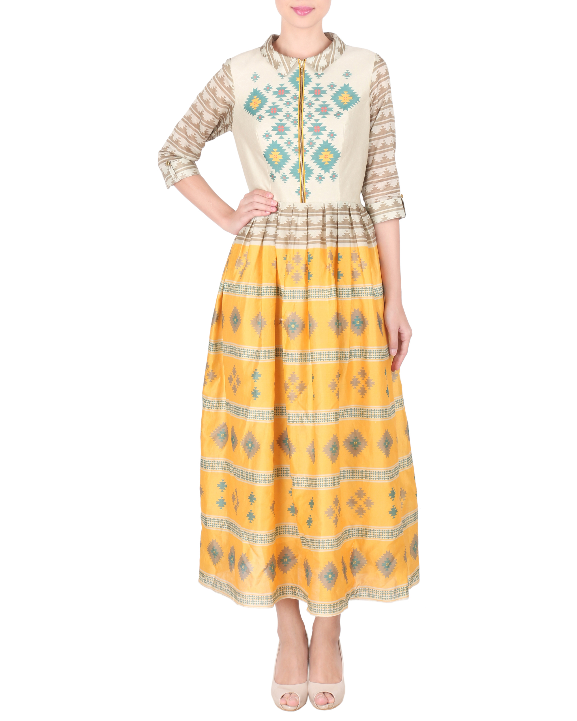 Chanderi long ankle length dress