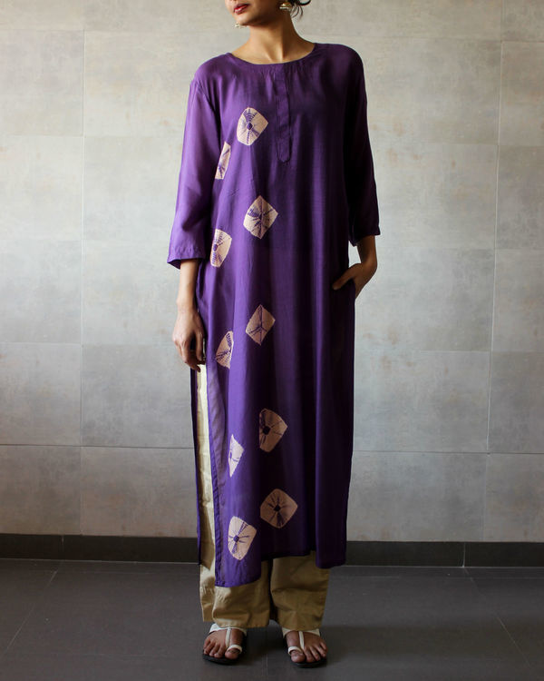 Violet bandhej straight tunic