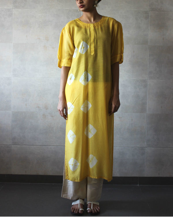 Yellow bandhej straight tunic