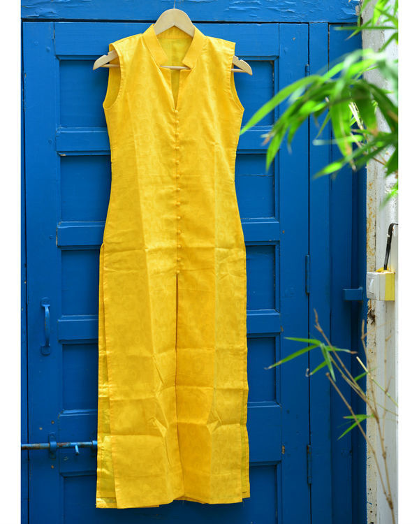 Yellow jacquard kurta