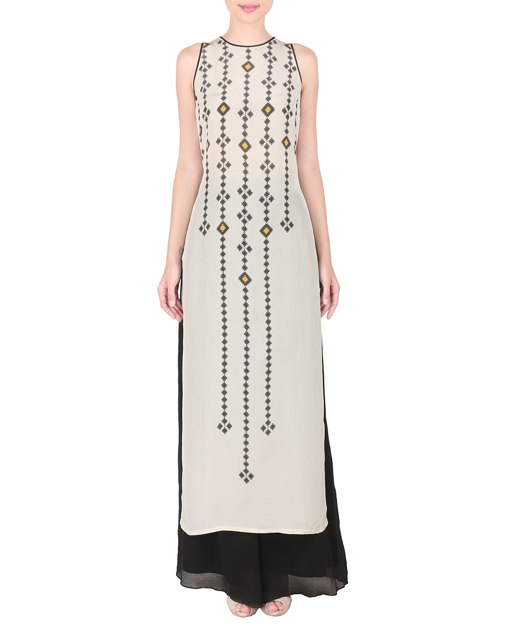 Grey crepe long kurta with palazzo