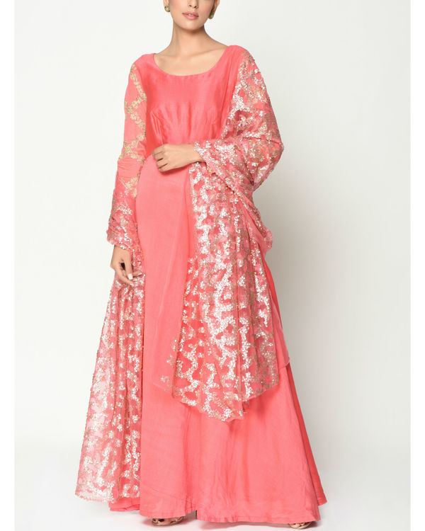 Peach sequinced tunic with dupatta