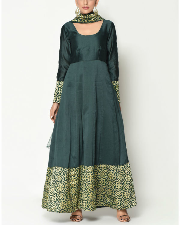 Cocktail green tunic with dupatta