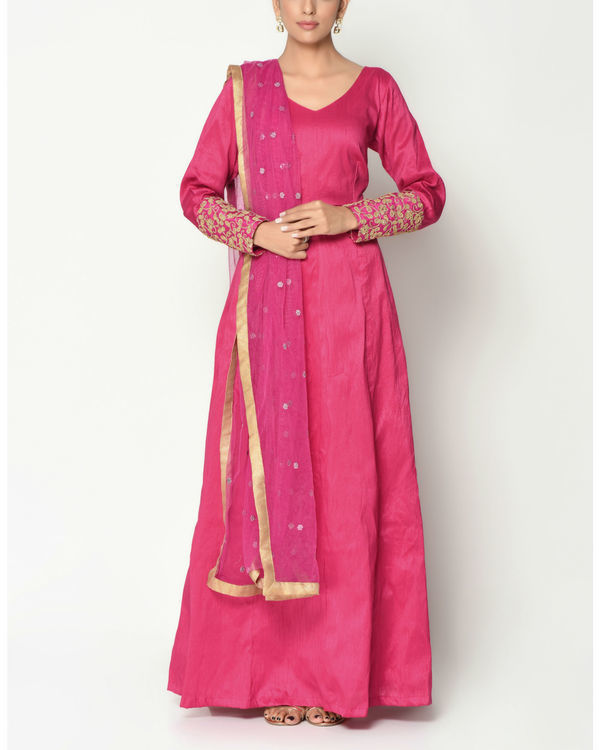 Pink zari cuff tunic with dupatta