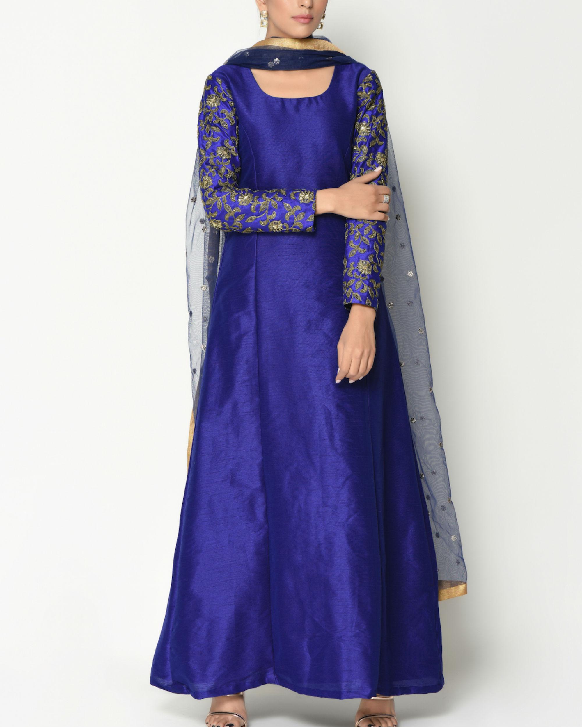Royal blue zari sleeves tunic with dupatta