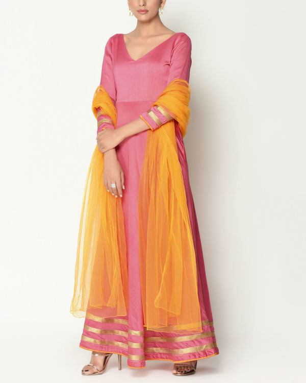 Peach striped border tunic with dupatta