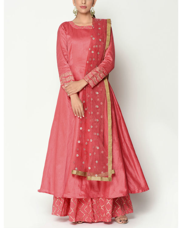 Peach layered tunic with dupatta