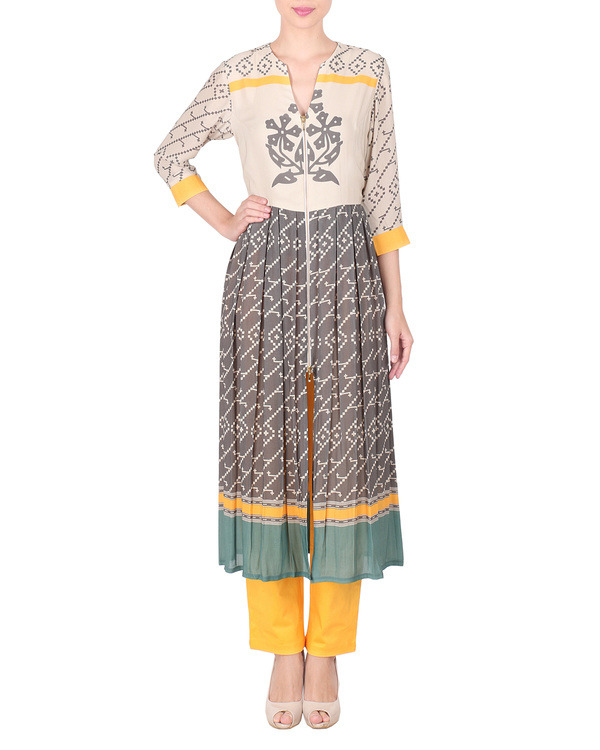Double georgette long tunic with trousers