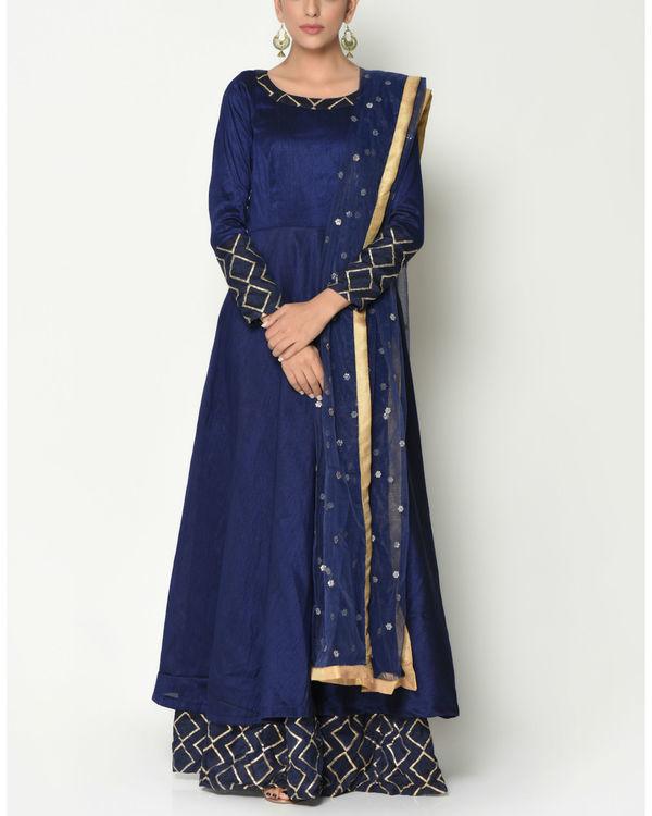 Blue layered tunic with dupatta