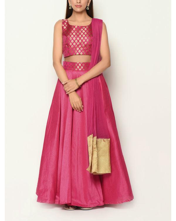Pink brocade lehenga