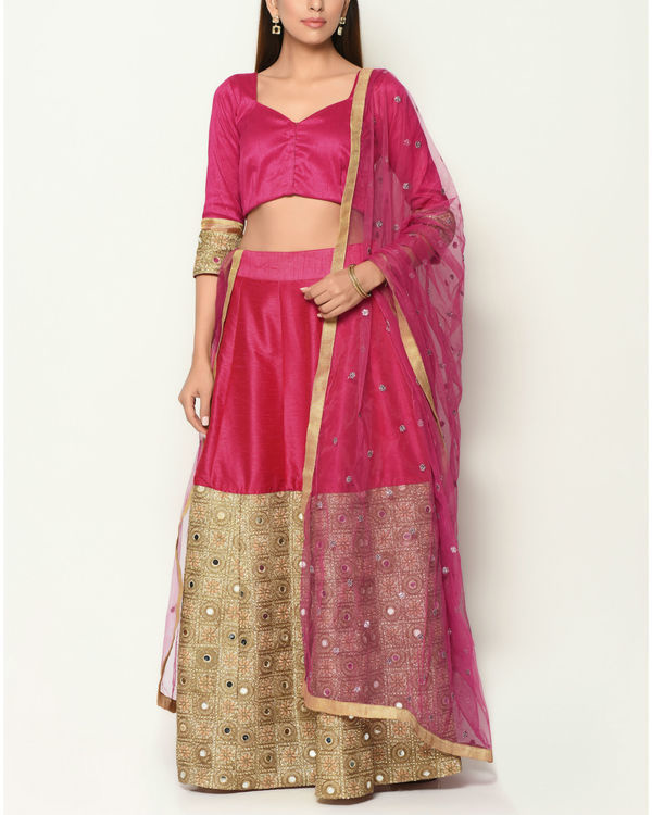 Pink and gold zari lehenga