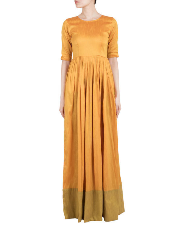 Mustard and green straight dress