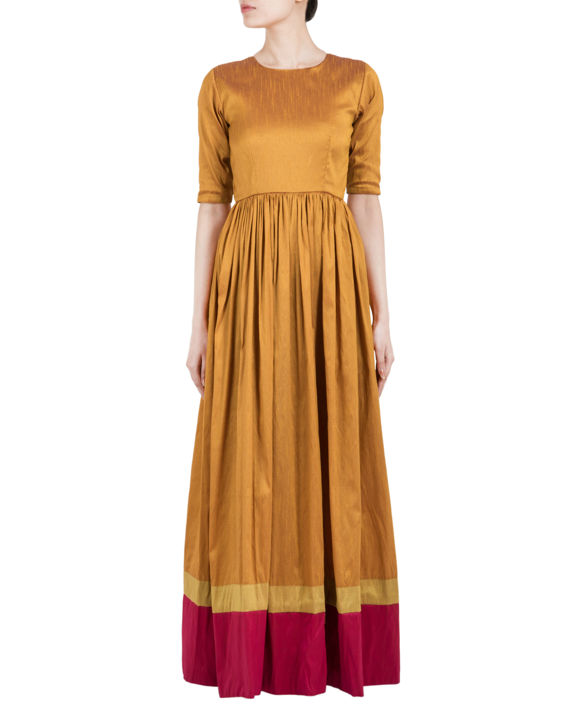 Gold brown and red double border  dress