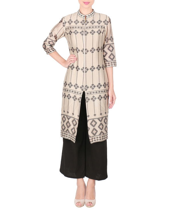 Beige chanderi long kurta with palazzo