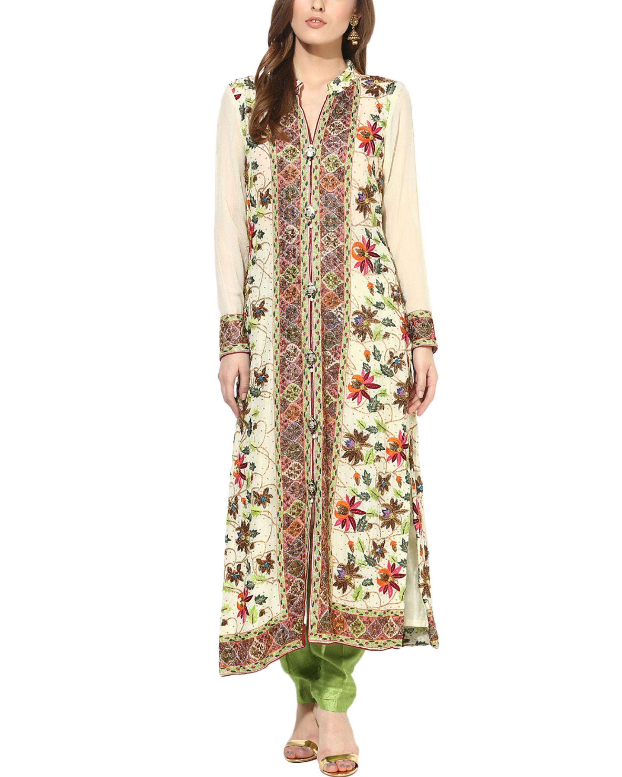 Floral zari suit set