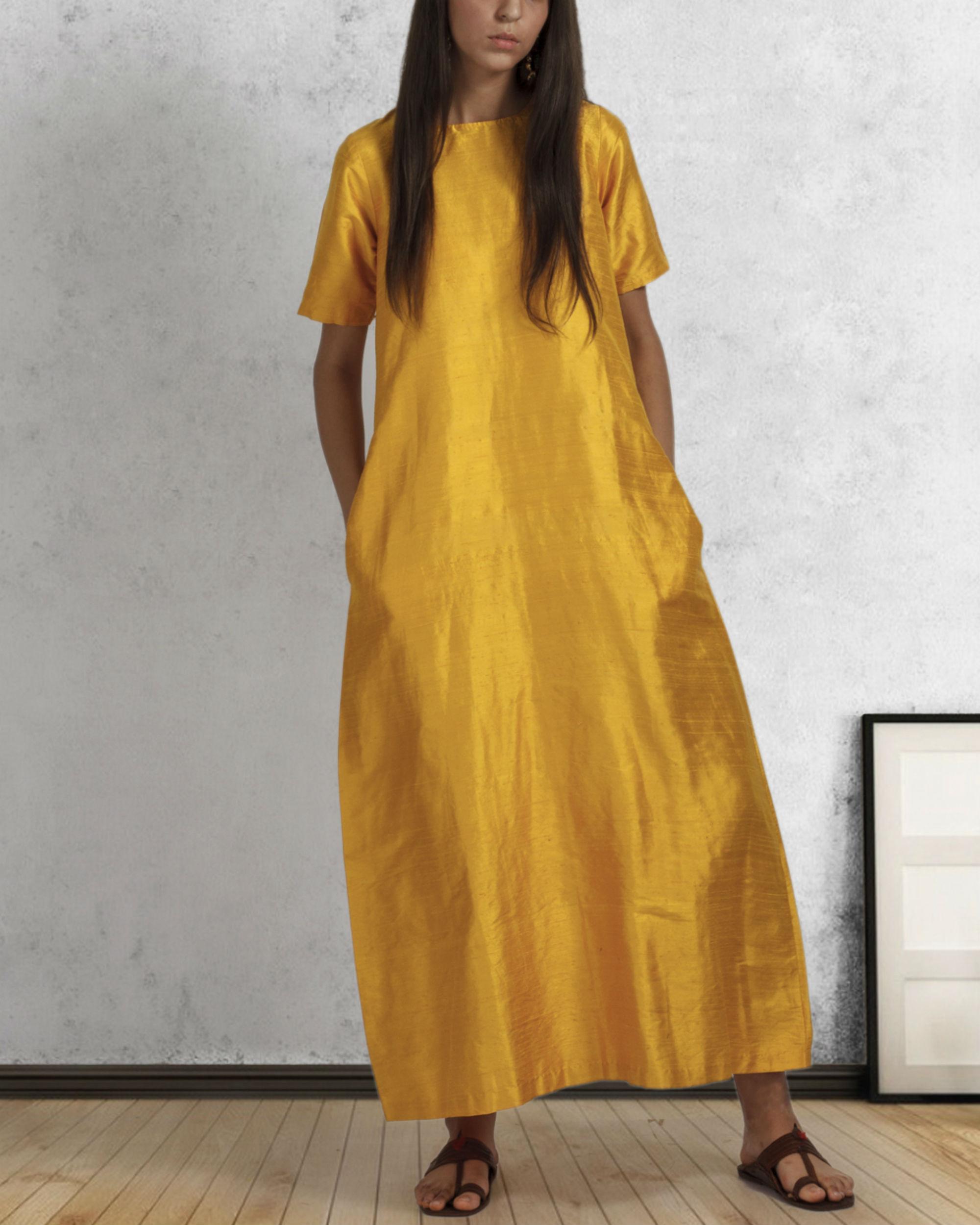 Yellow silk box dress