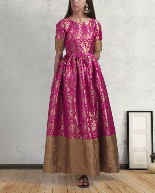 Pink and gold brocade gown