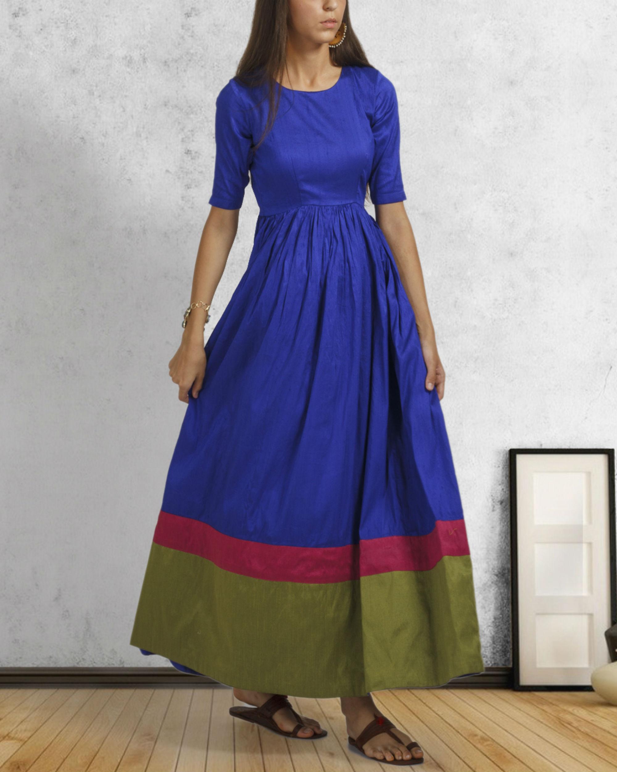 Royal blue double border dress