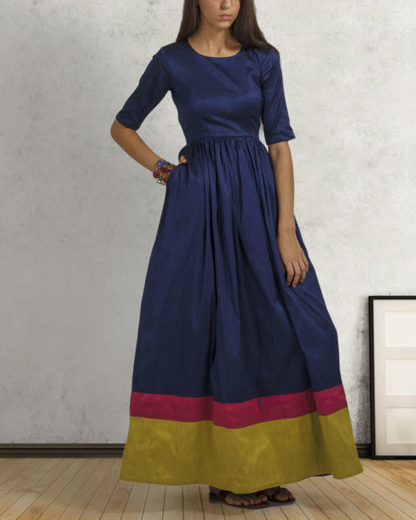 Navy blue double border dress