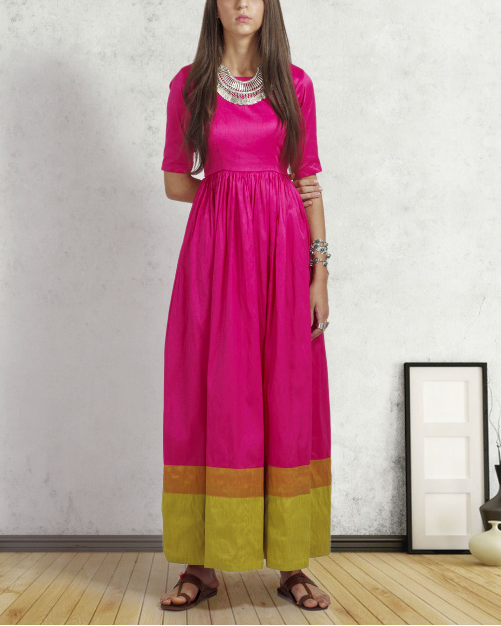 Bright pink double border dress
