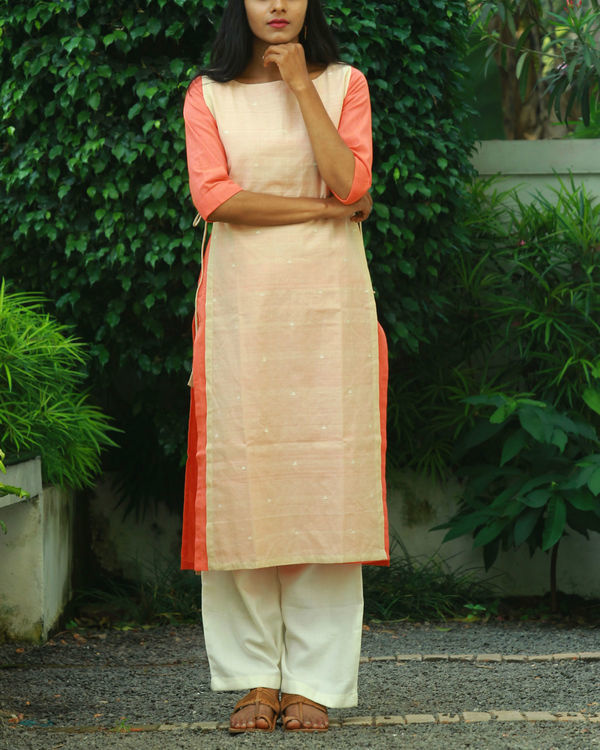 Beige double layered knotted kurta