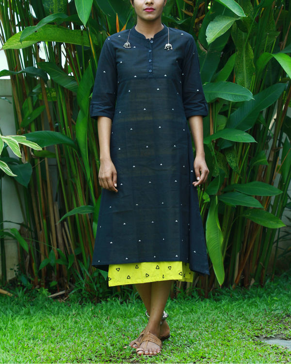 Black kurta with lemon camisole