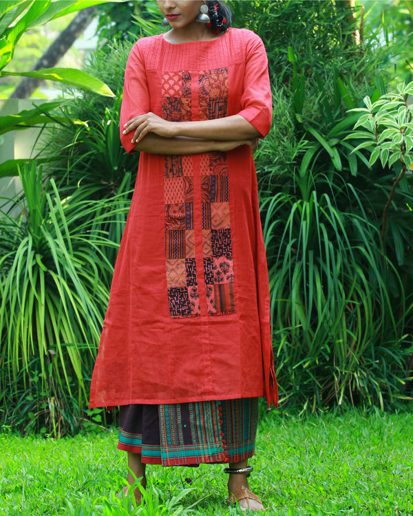 Coral kurta with camisole