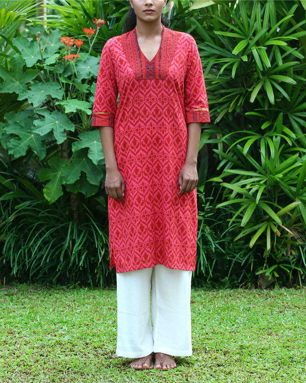 Coral cotton kurta