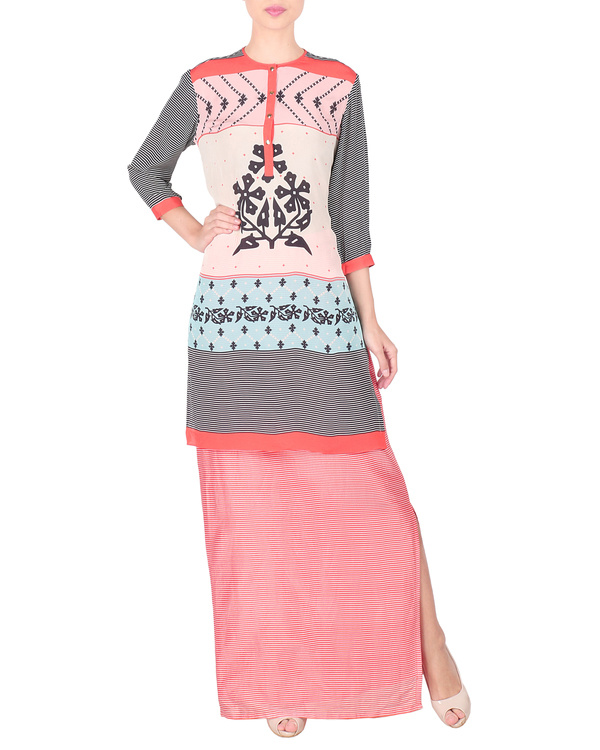 Long peach pink kurta with skirt