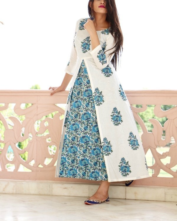 Blue maxi with white block printed tunic