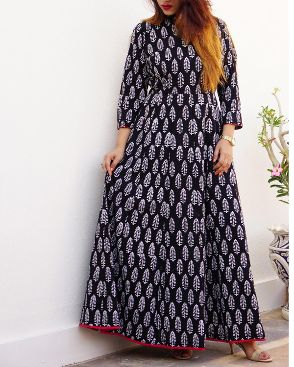 Block printed black maxi