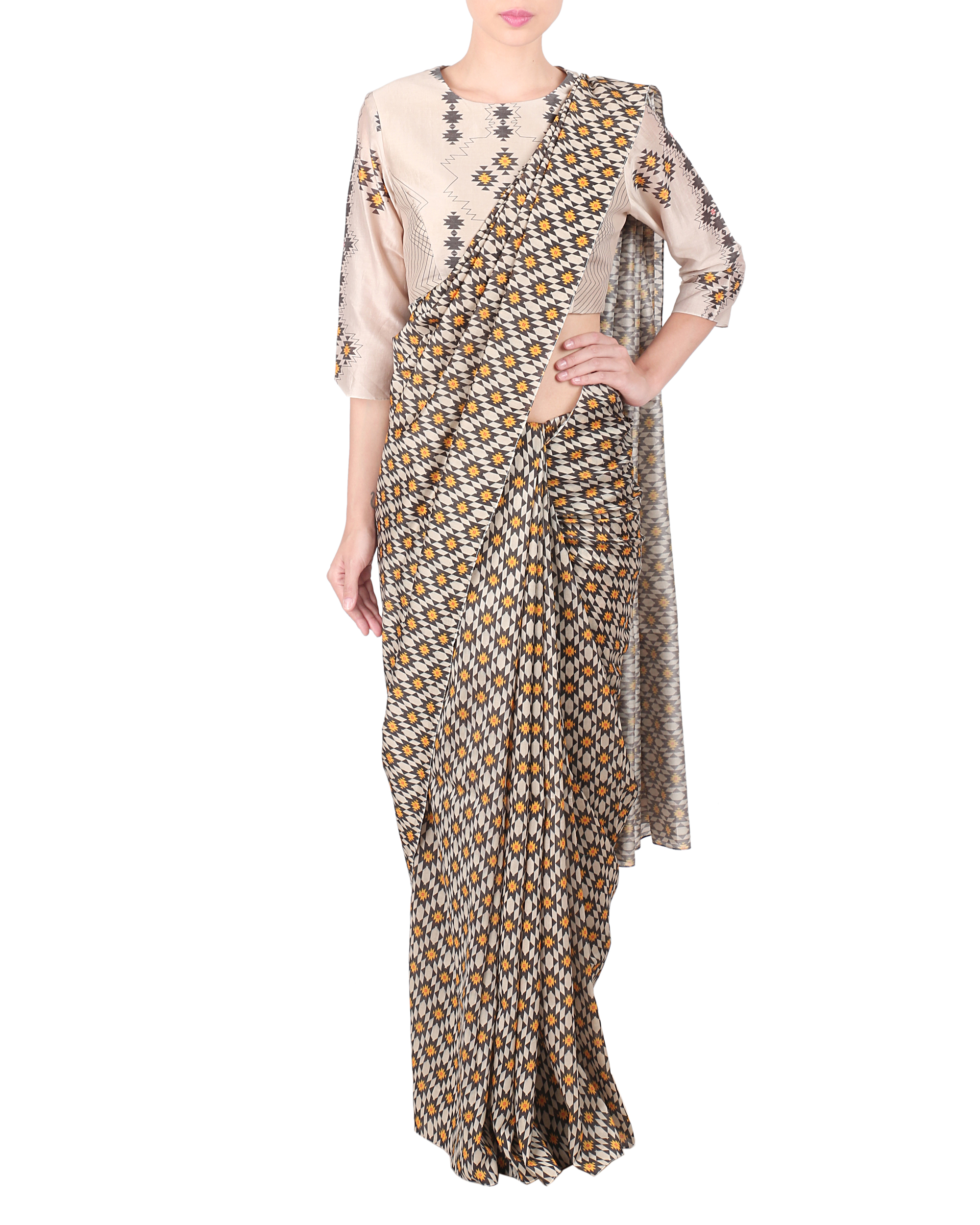 Chanderi saree with stitched blouse