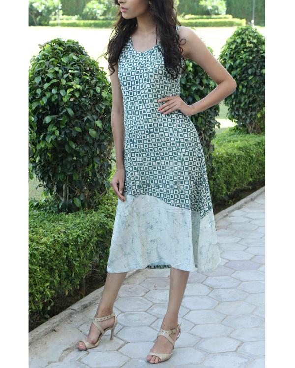 Green block printed summer dress