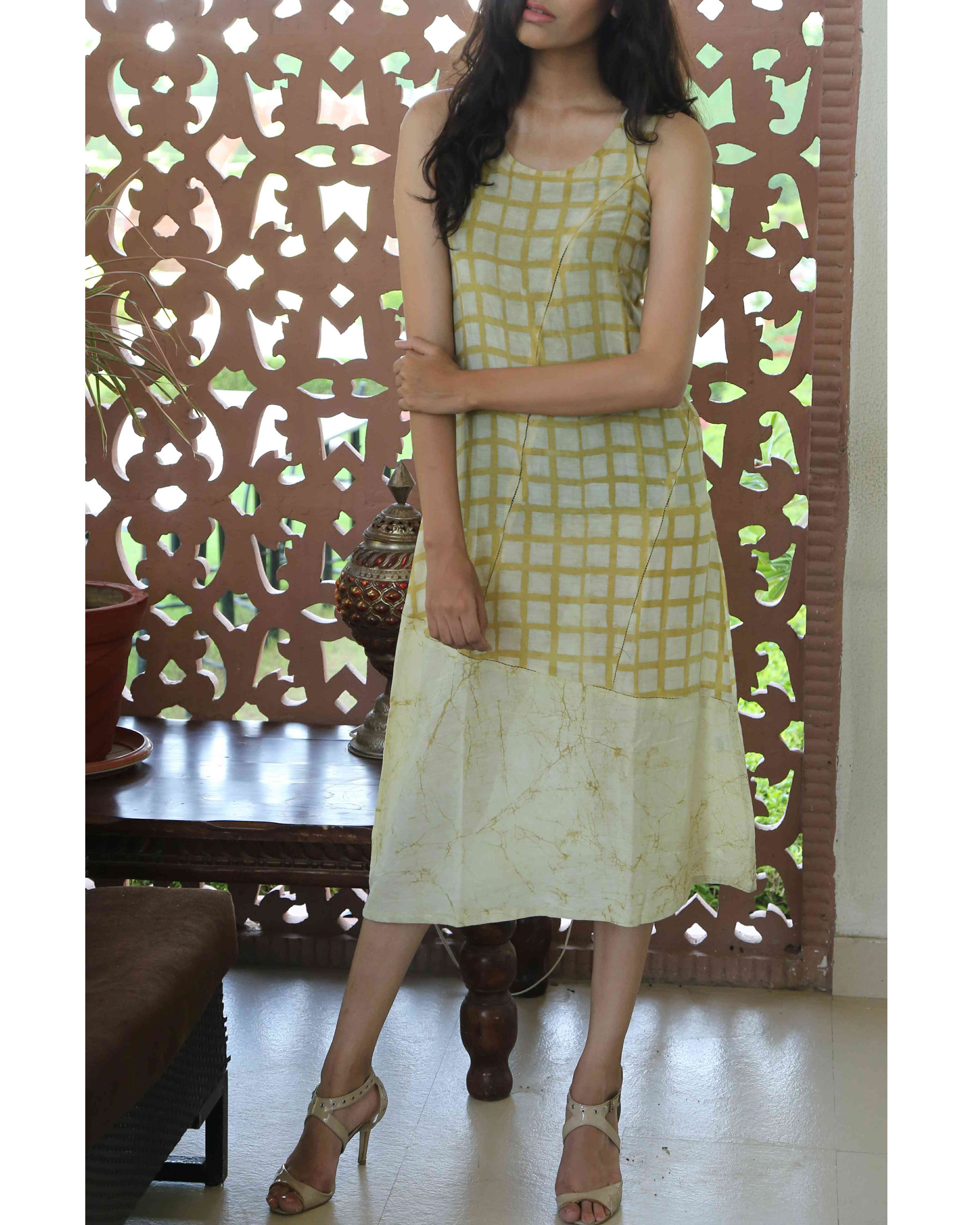 Mustard blockprinted summer dress