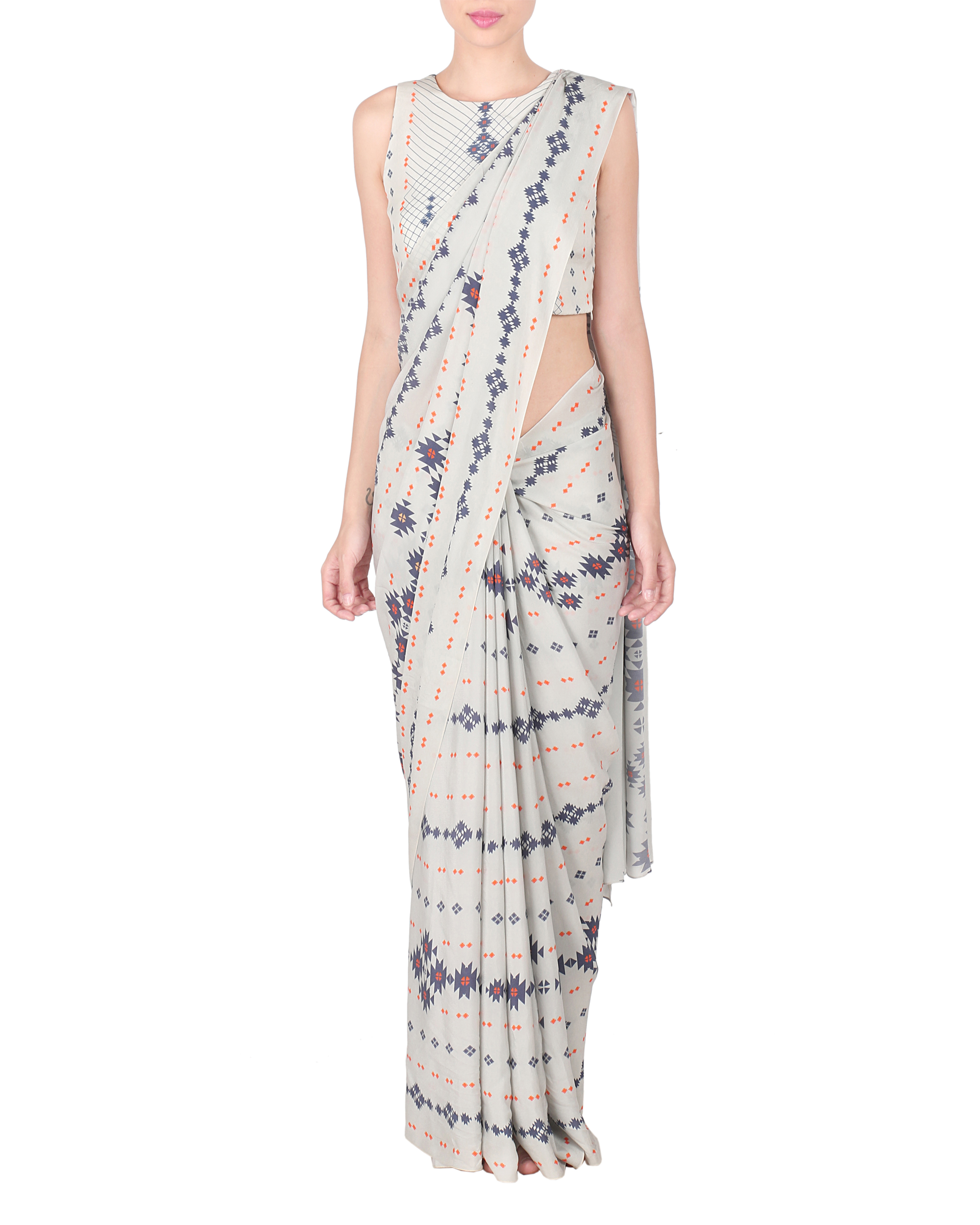 Grey crepe saree with stitched blouse