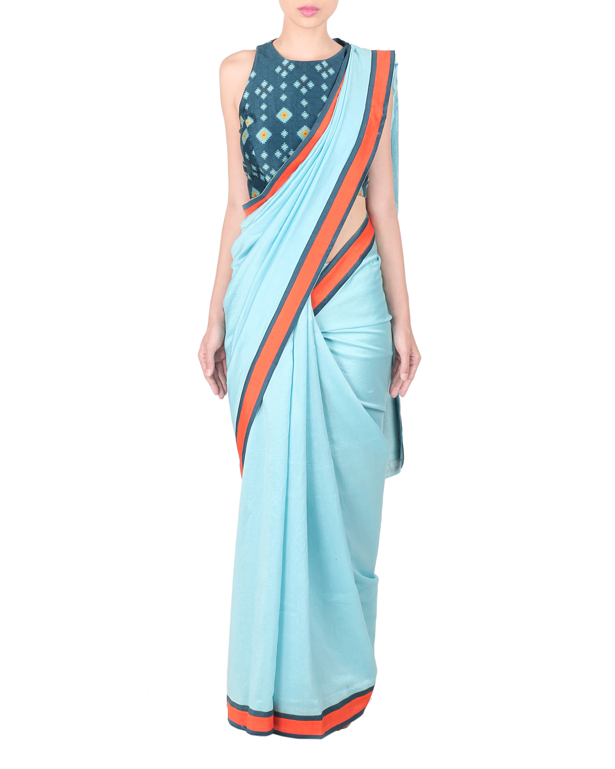 Ice blue chanderi saree with stitched blouse