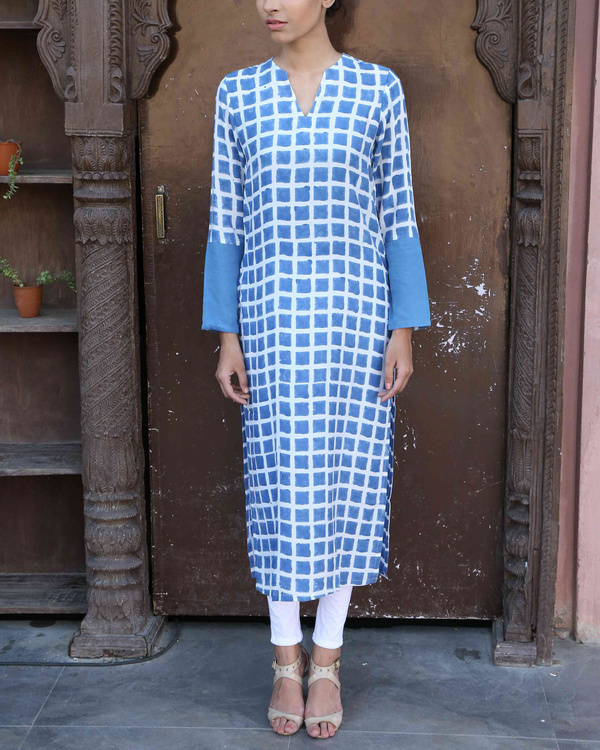 Blue chequered kurta