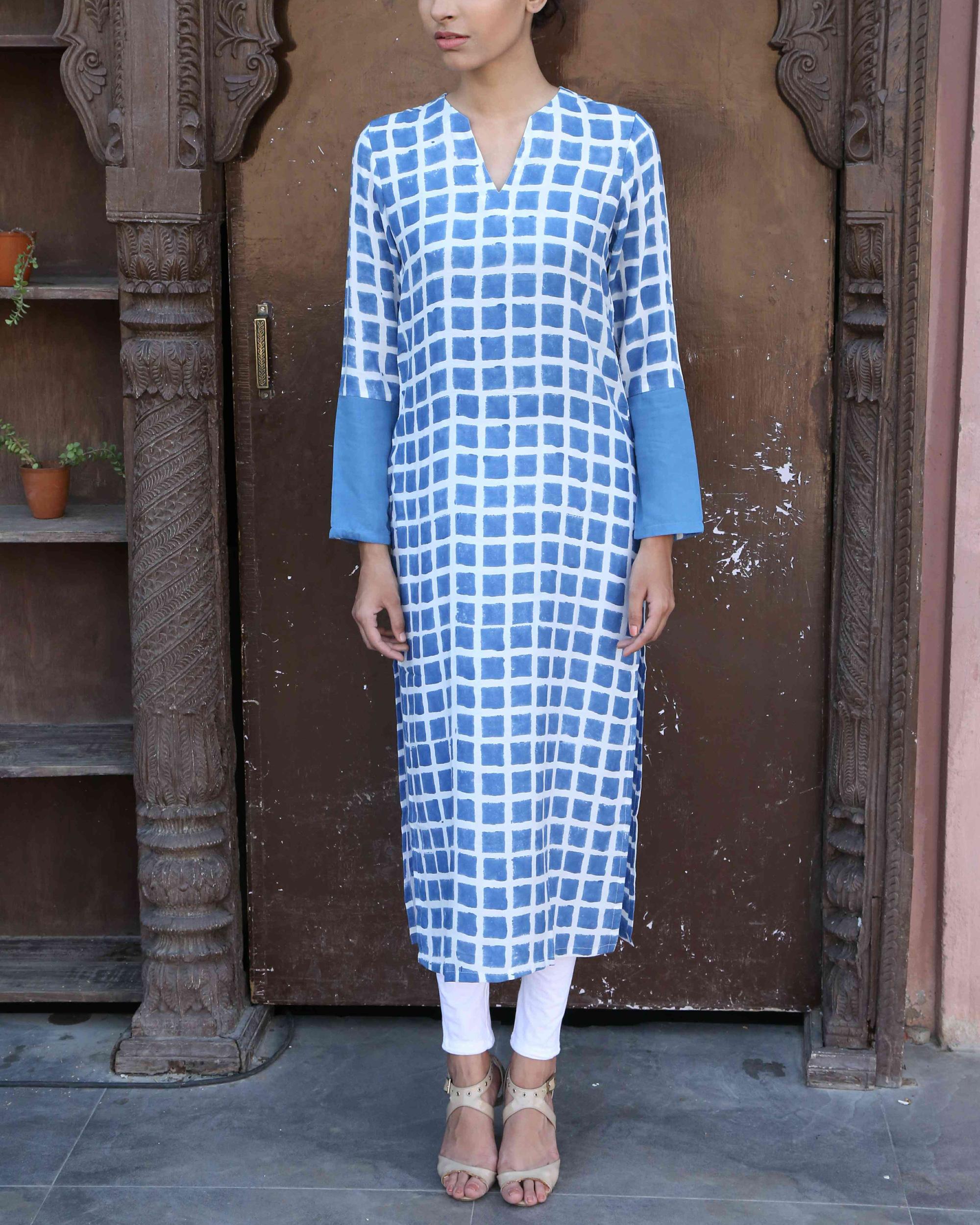 Blue chequered kurta