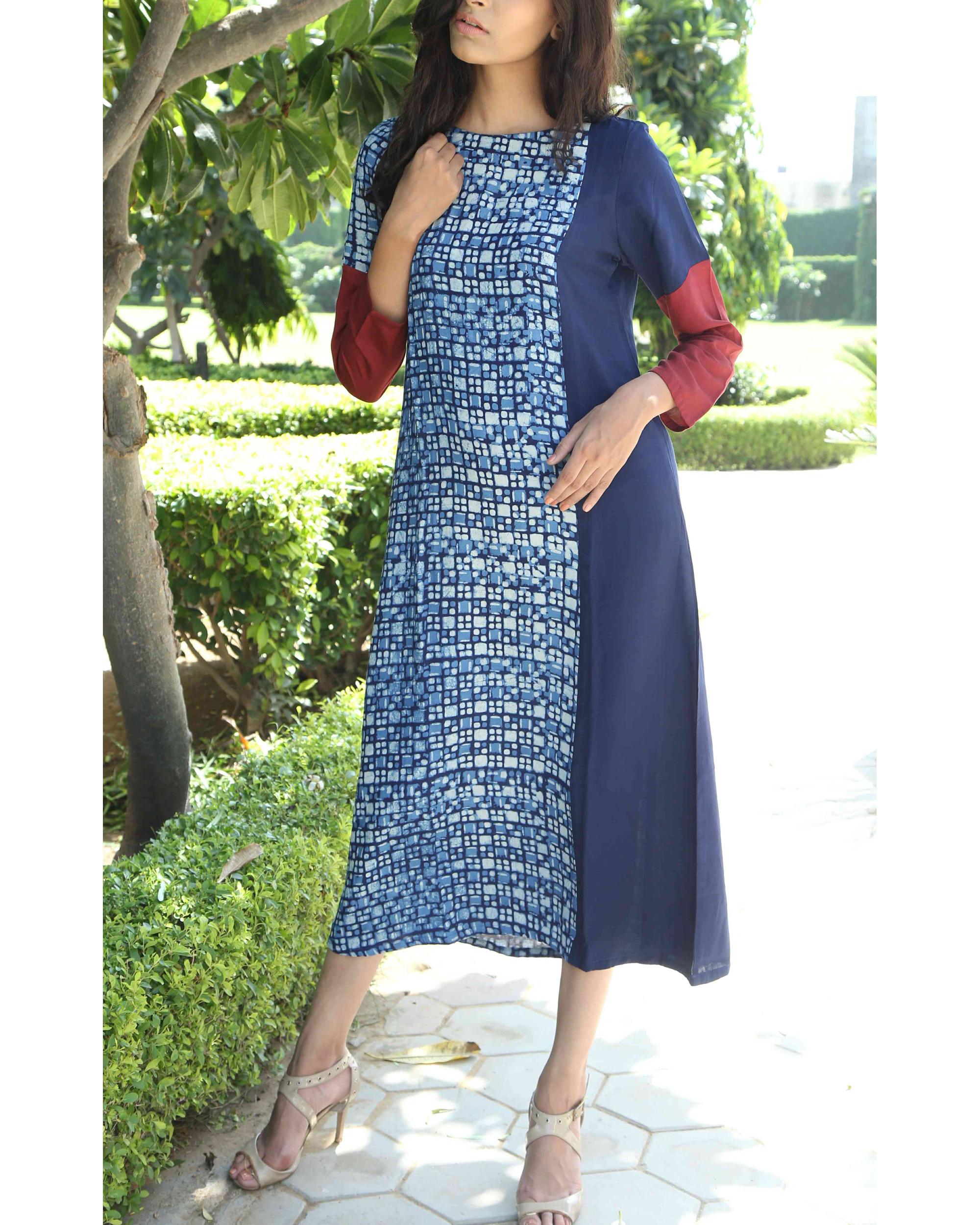 Indigo patchwork tunic