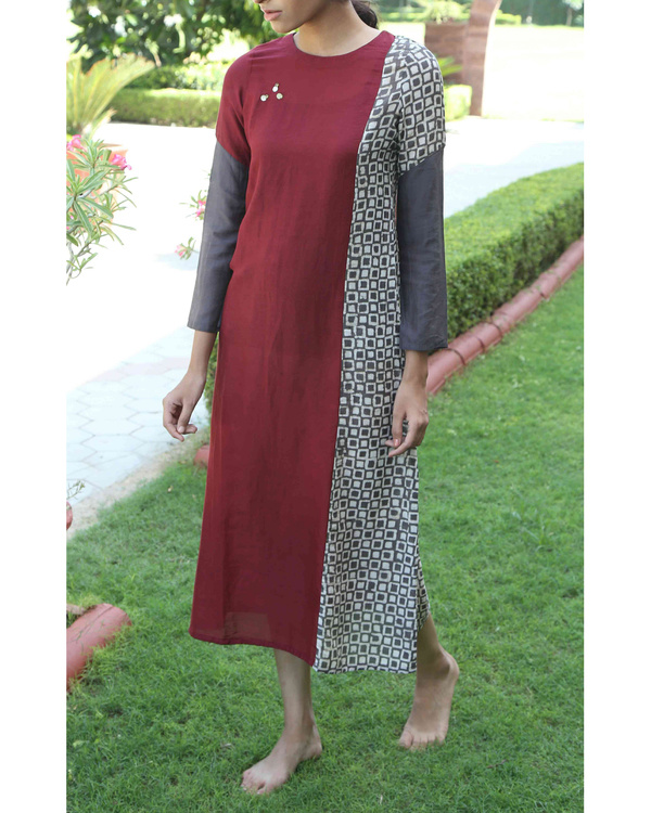 Maroon patchwork tunic
