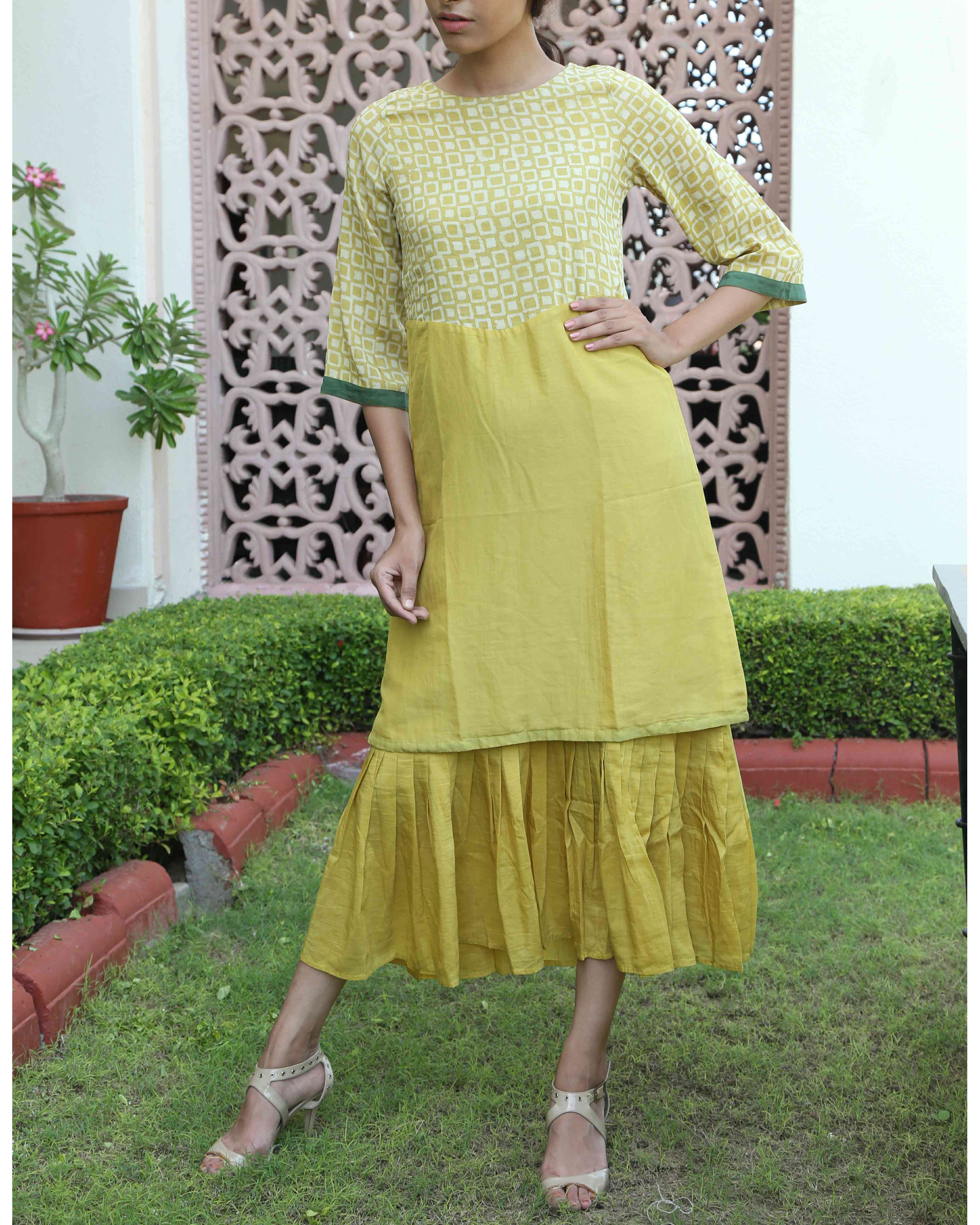 Mustard double layered dress