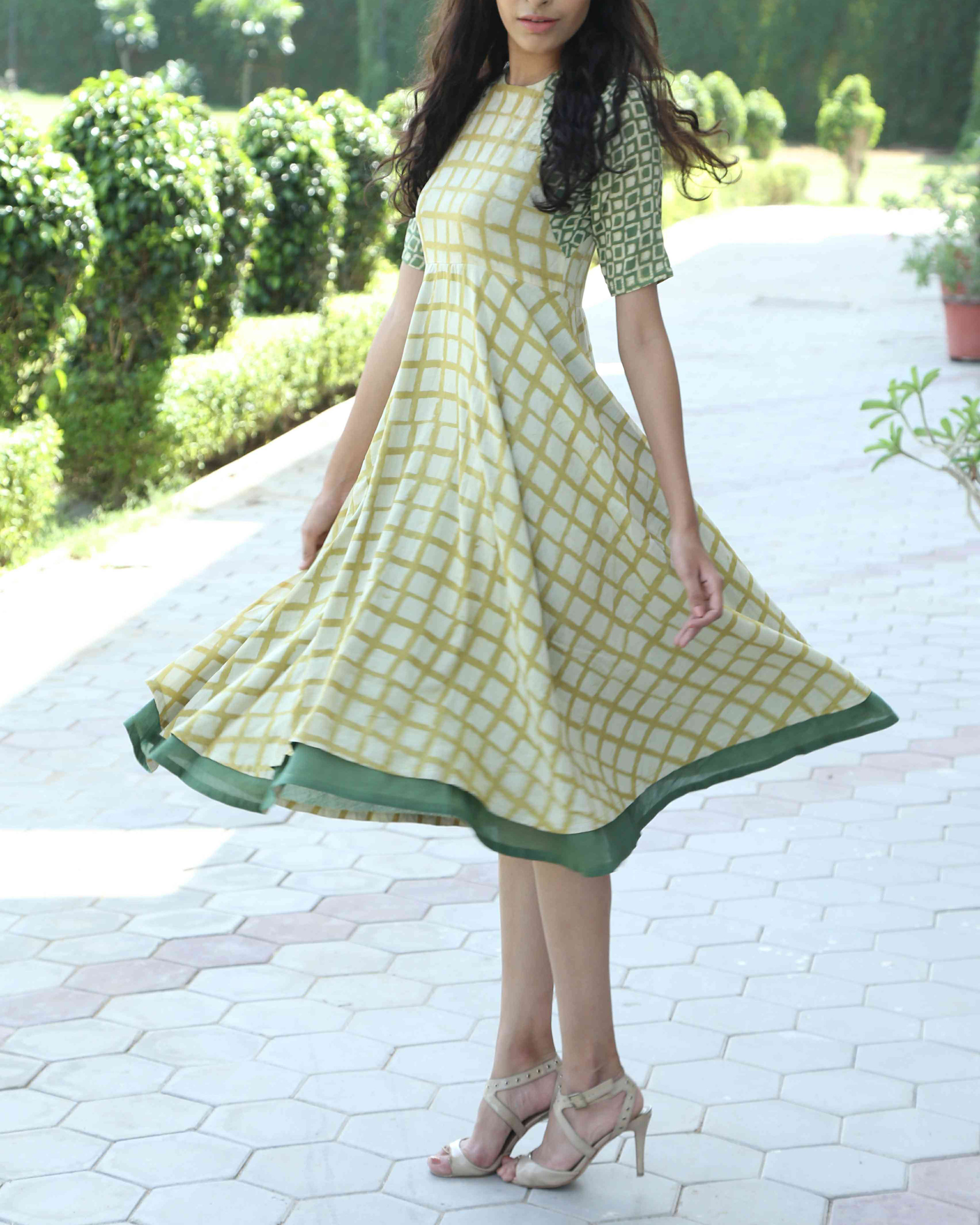 Flared chequered dress