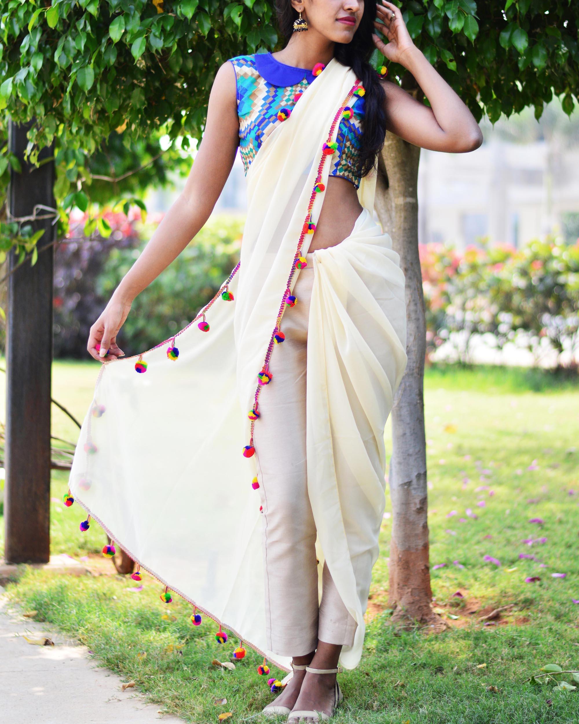 Off white trouser sari