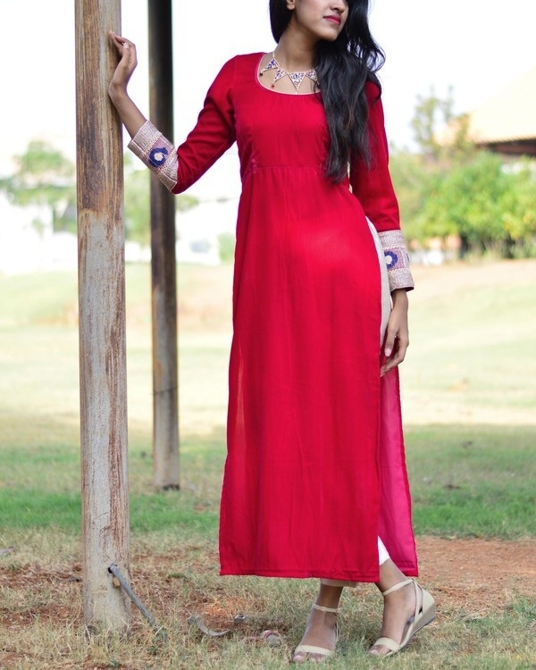 Cherry velvet kurta set