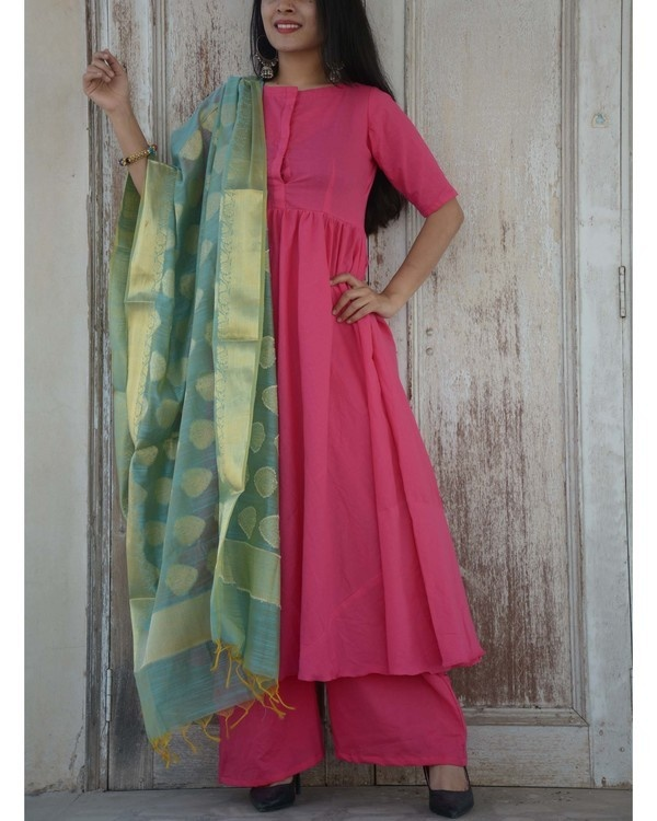 Fuschia green kurta set