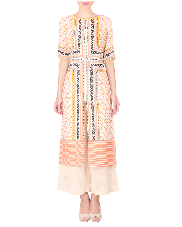 Double georgette peach pink long tunic with palazzos