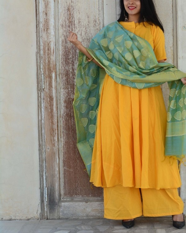 Yellow green kurta set