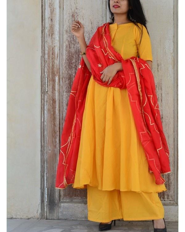 Yellow red kurta set