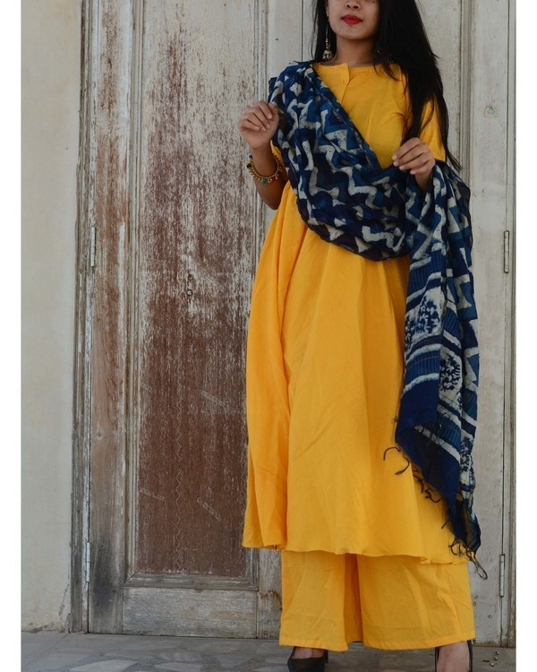 Yellow indigo kurta set