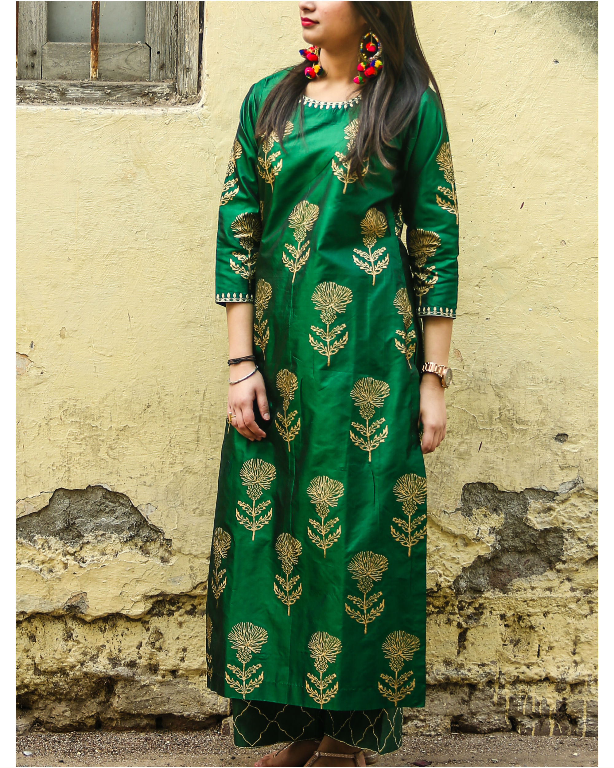 Emerald floral kurta set